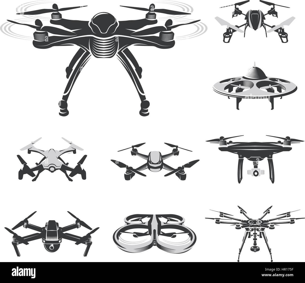 Isolated quadcopter, rc drone logo collection, fpv device logotype set vector illustration - Stock Image