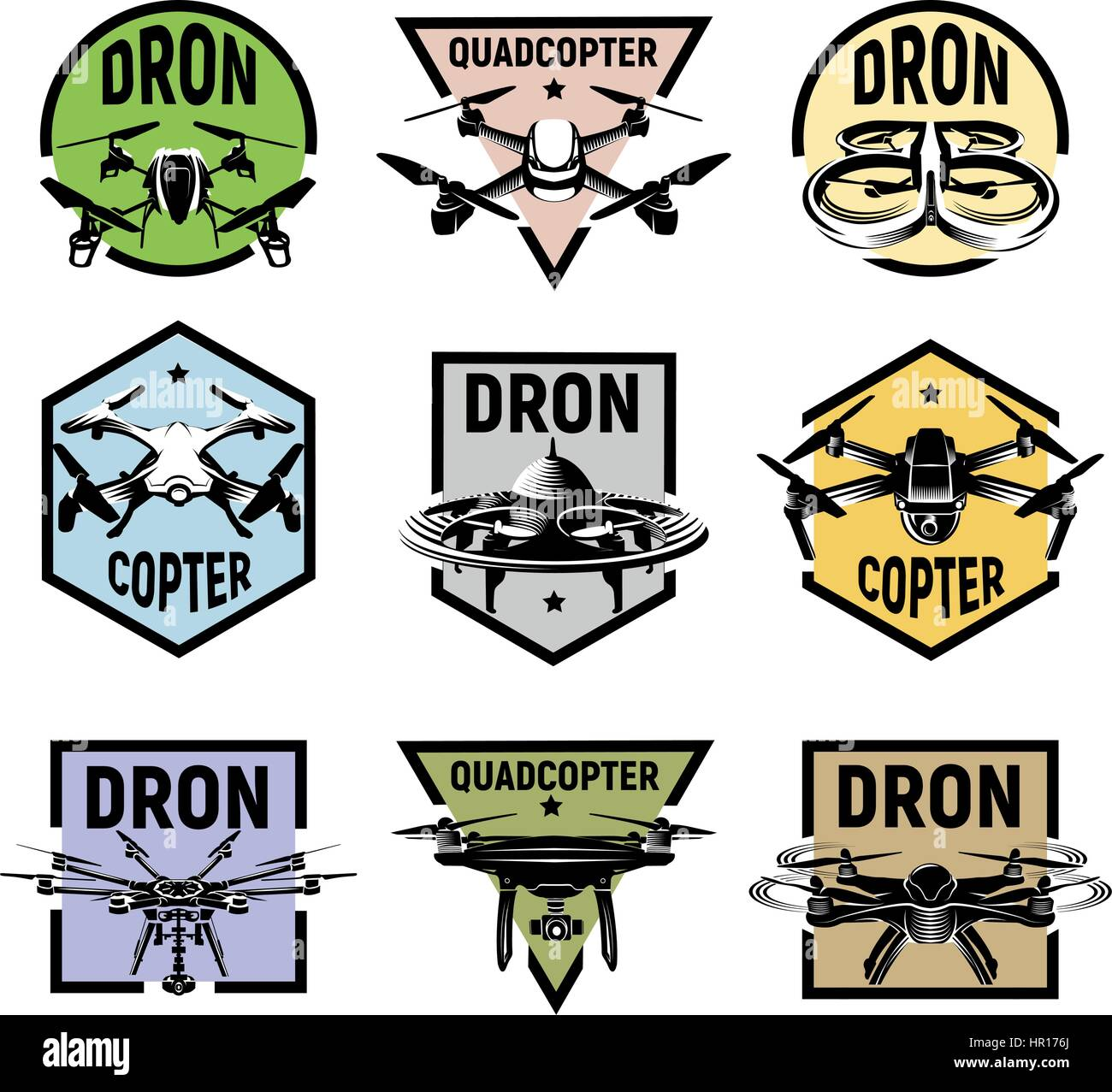 Isolated quadcopter icons in colorful frames, rc drone logos collection, fpv device logotype set vector illustration. - Stock Image