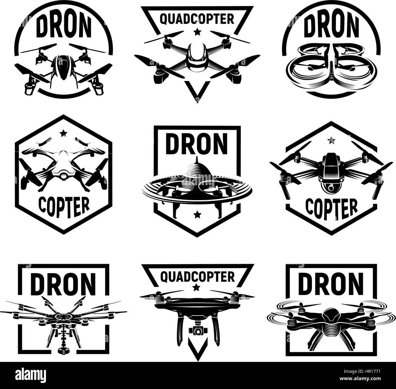 Isolated monochrome quadcopter icons in frames, rc drone logos Stock ...