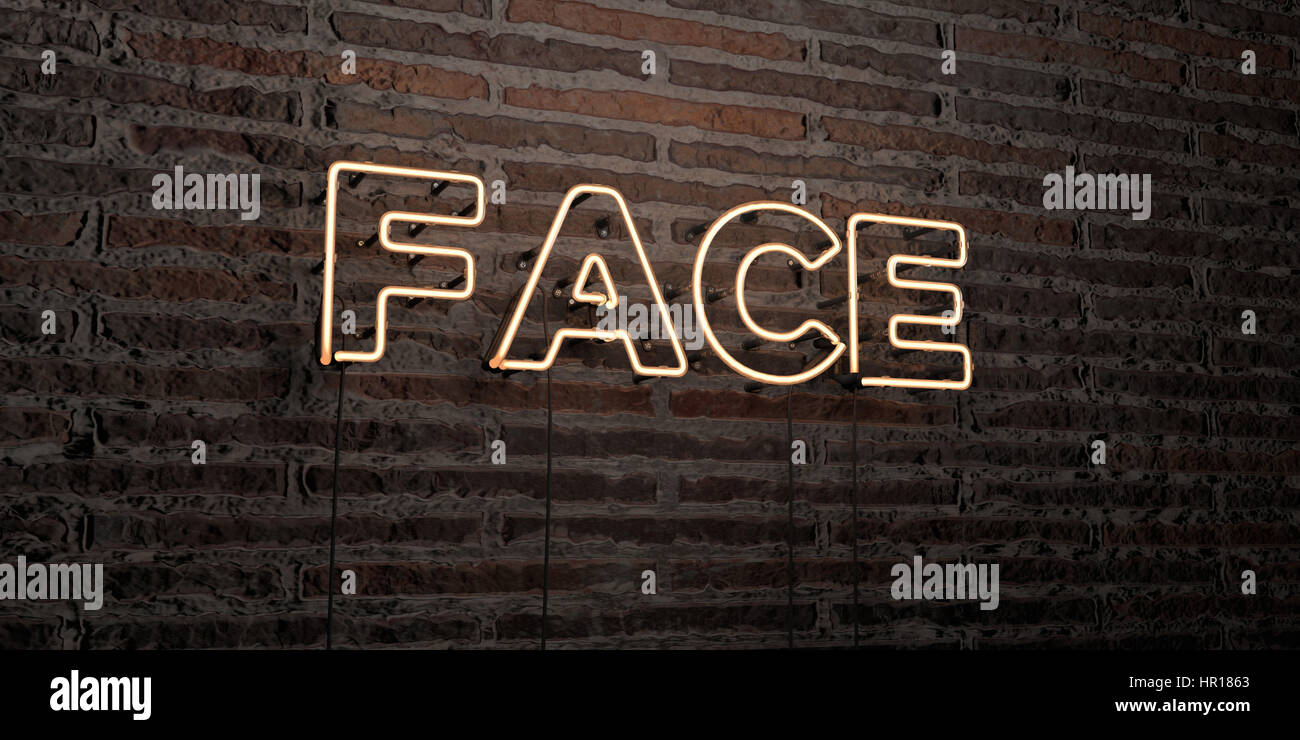 FACE -Realistic Neon Sign on Brick Wall background - 3D