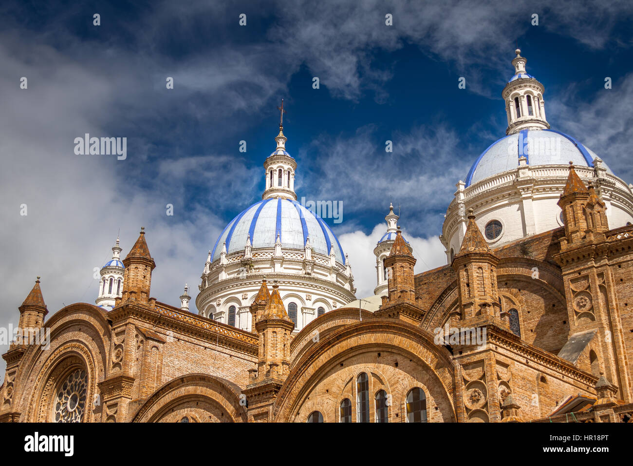 Domes of Cuenca Cathedral, Ecuador - Stock Image