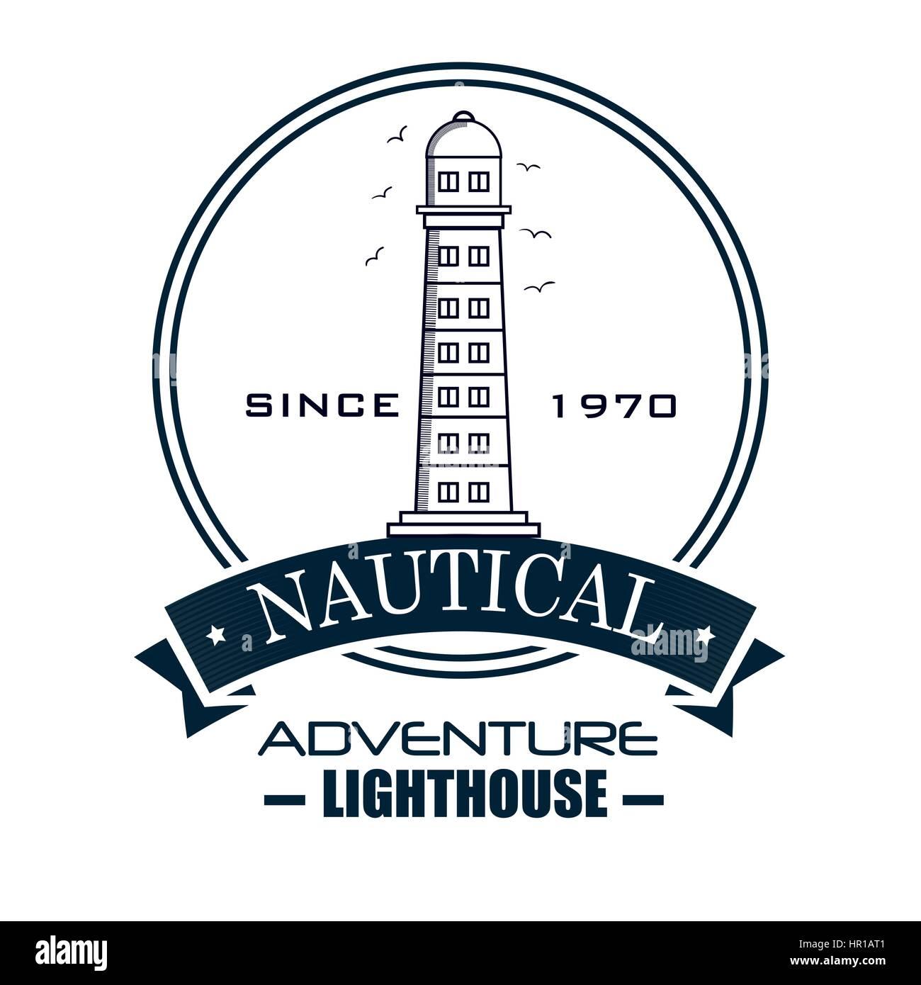 nautical frame with lighthouse - Stock Image
