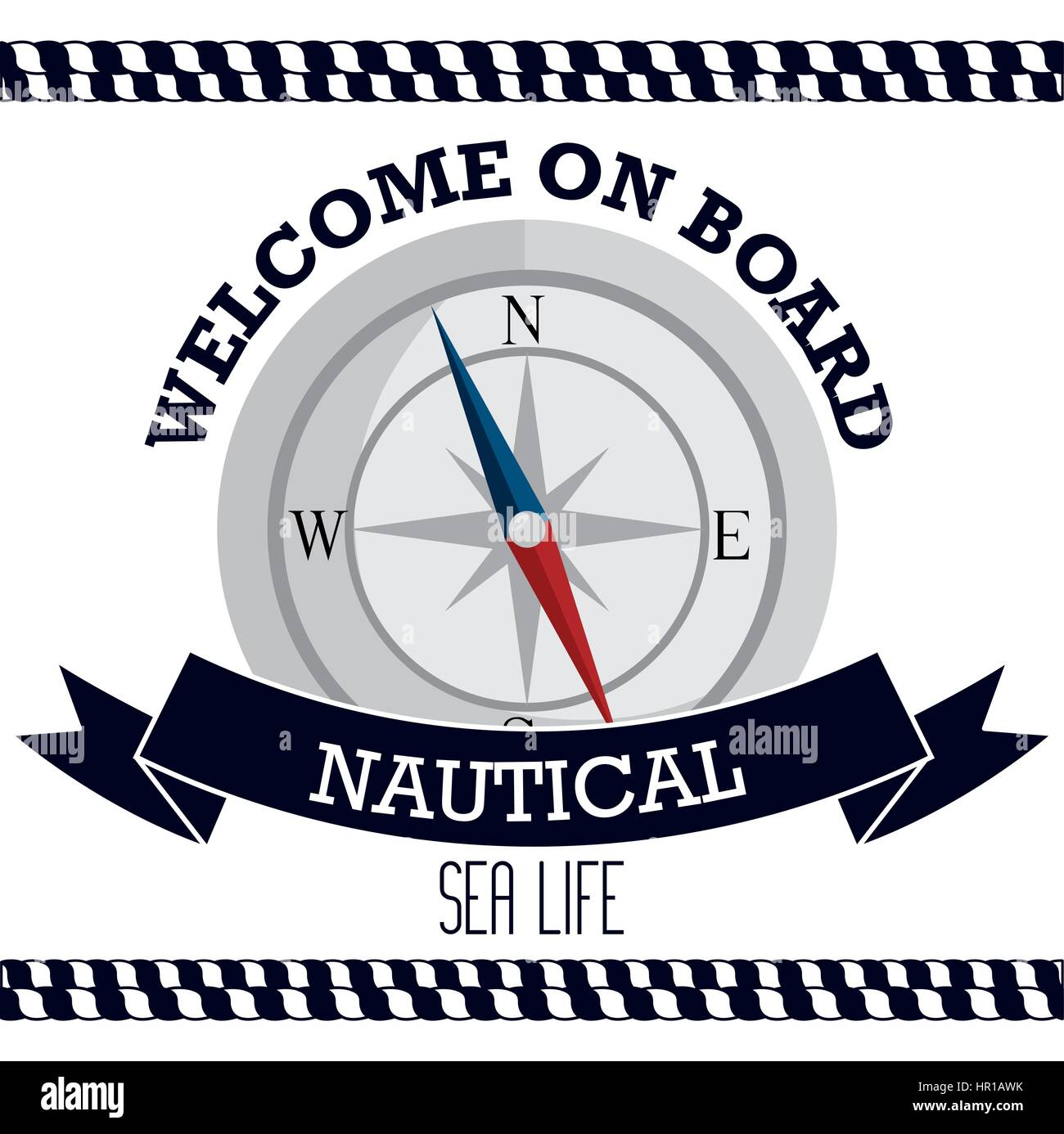 nautical frame with compass - Stock Image