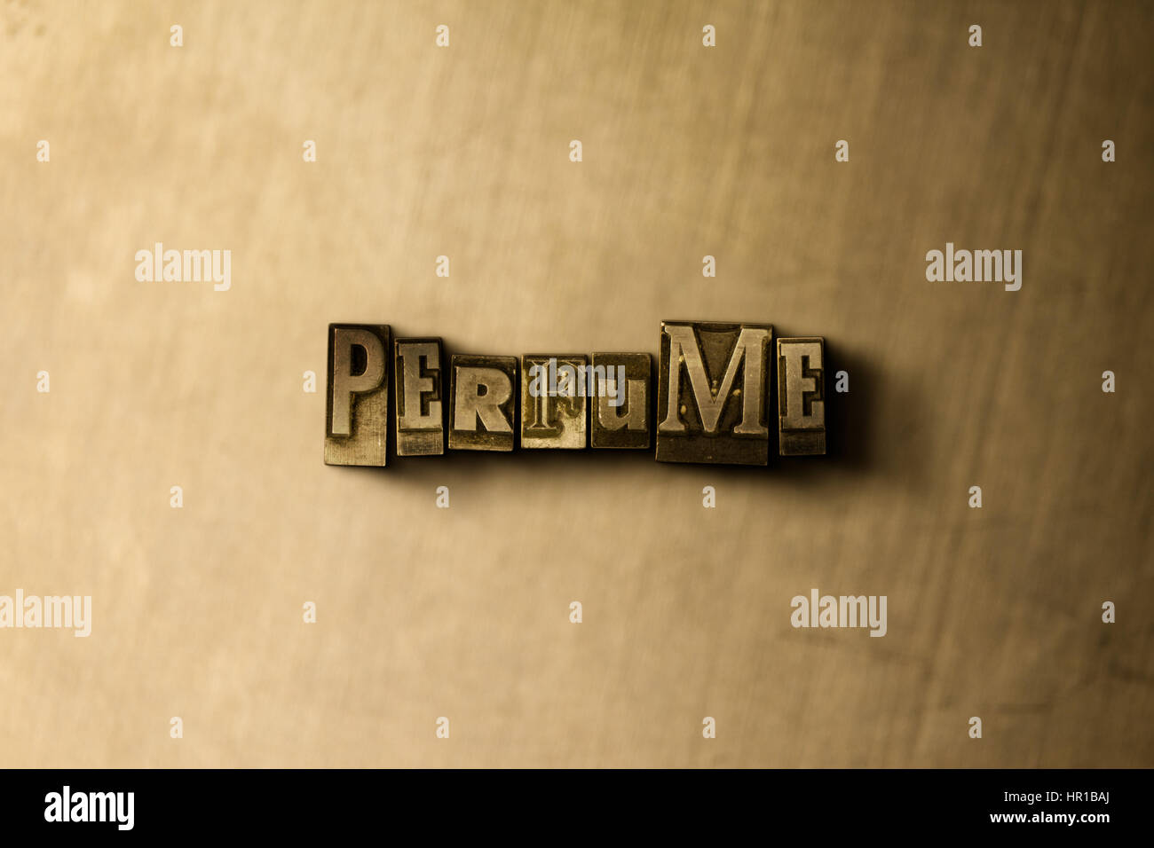 PERFUME - close-up of grungy vintage typeset word on metal backdrop. Royalty free stock - 3D rendered stock image. - Stock Image