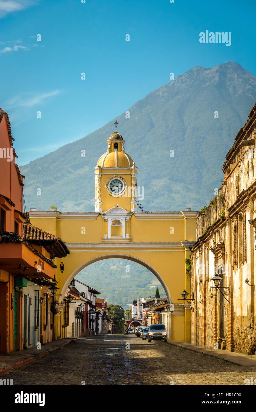 Santa Catalina Arch ans Agua Volcano - Antigua, Guatemala - Stock Image