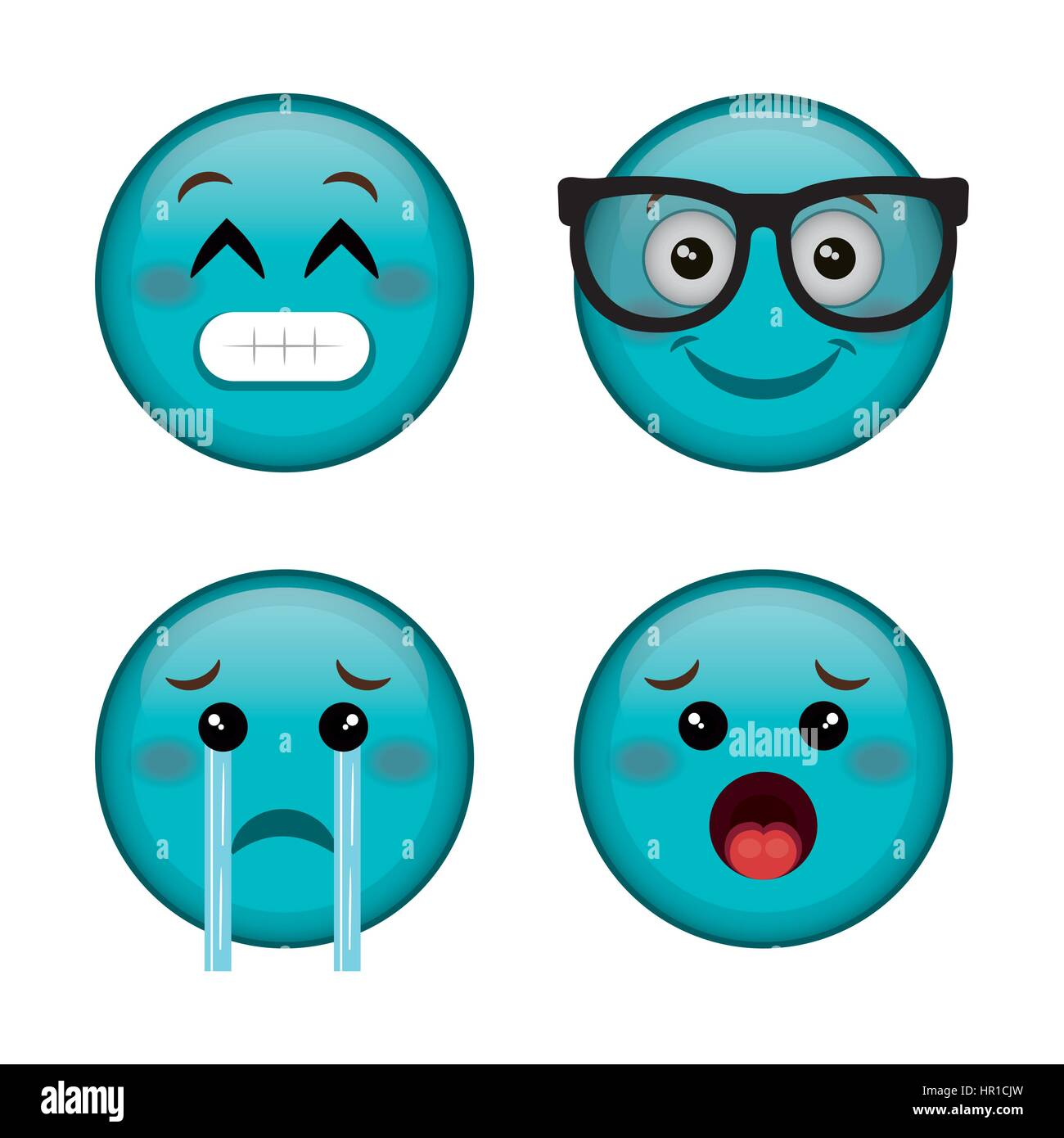 emoticons faces characters icons - Stock Image
