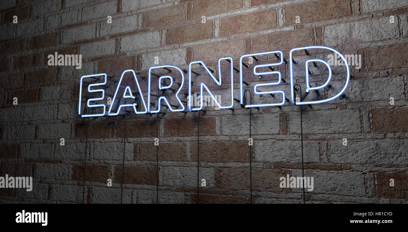 EARNED - Glowing Neon Sign on stonework wall - 3D rendered royalty free stock illustration.  Can be used for online Stock Photo