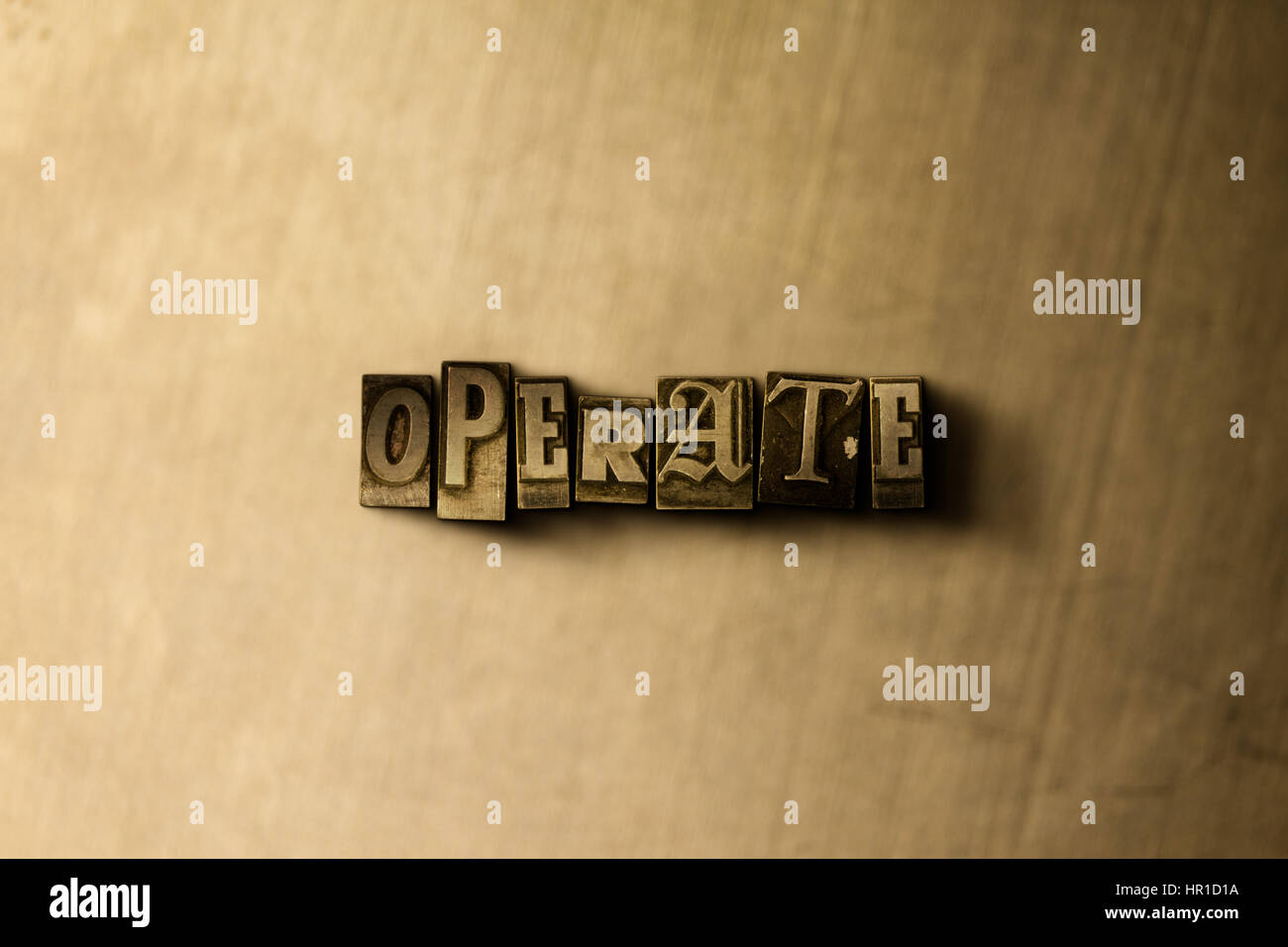 OPERATE - close-up of grungy vintage typeset word on metal backdrop. Royalty free stock - 3D rendered stock image. - Stock Image