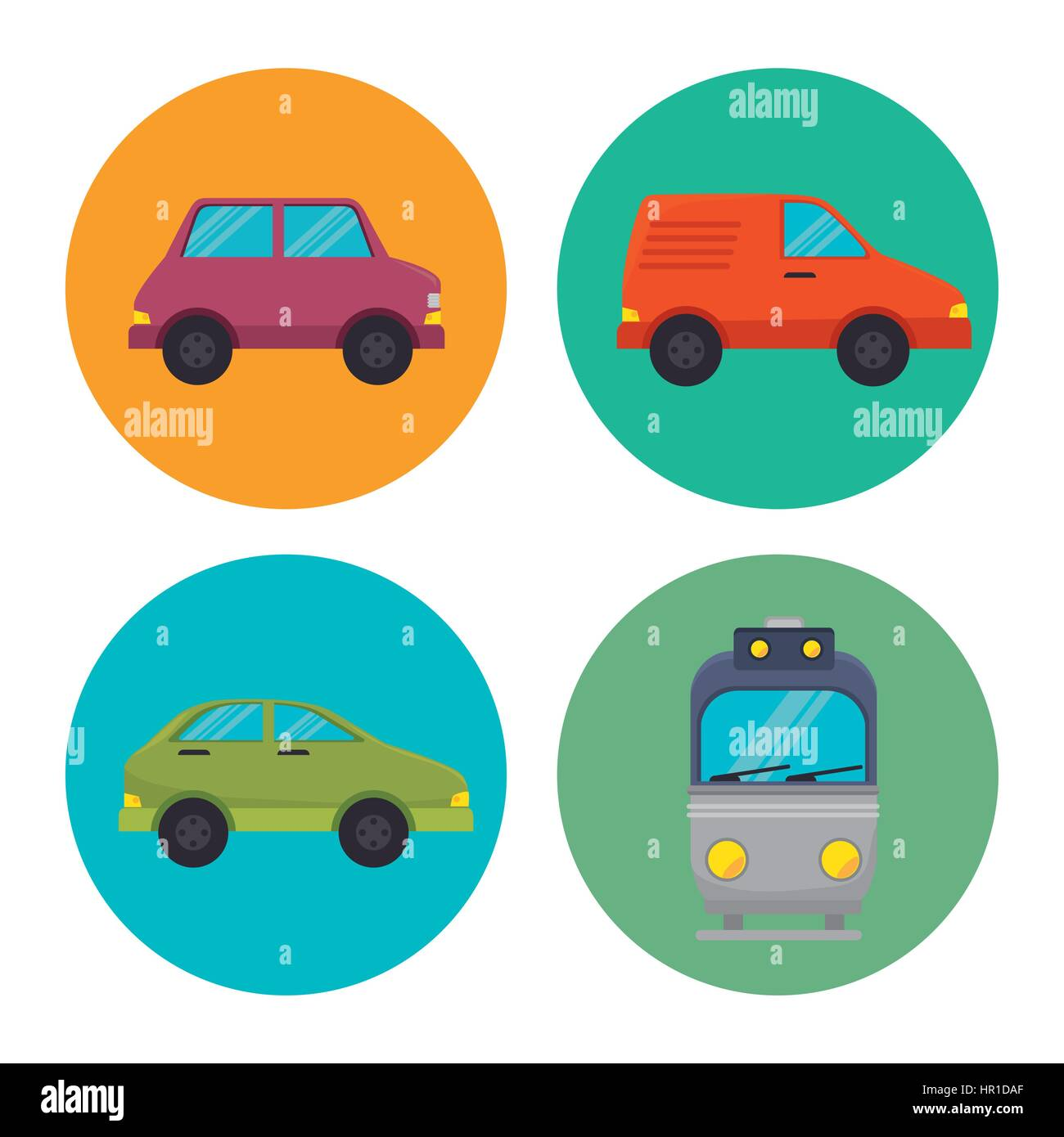 means of transport icons - Stock Image
