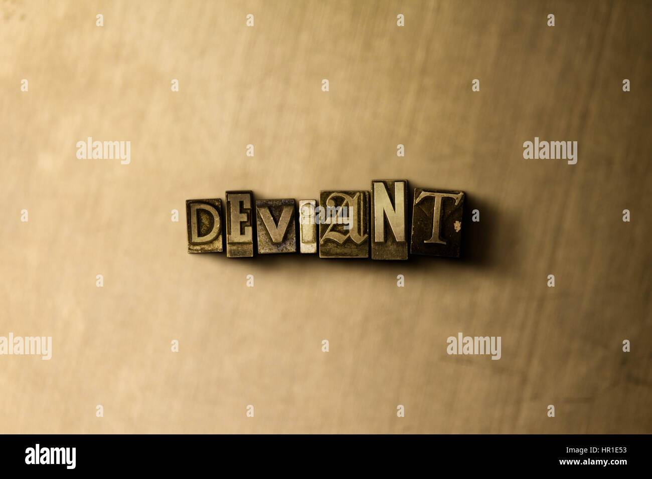 DEVIANT - close-up of grungy vintage typeset word on metal backdrop. Royalty free stock - 3D rendered stock image. - Stock Image