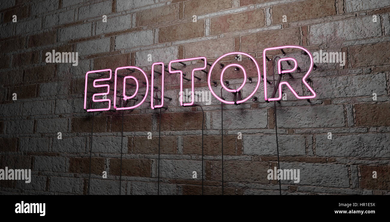 EDITOR - Glowing Neon Sign on stonework wall - 3D rendered royalty