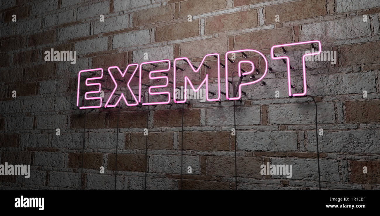 EXEMPT - Glowing Neon Sign on stonework wall - 3D rendered royalty free stock illustration.  Can be used for online - Stock Image