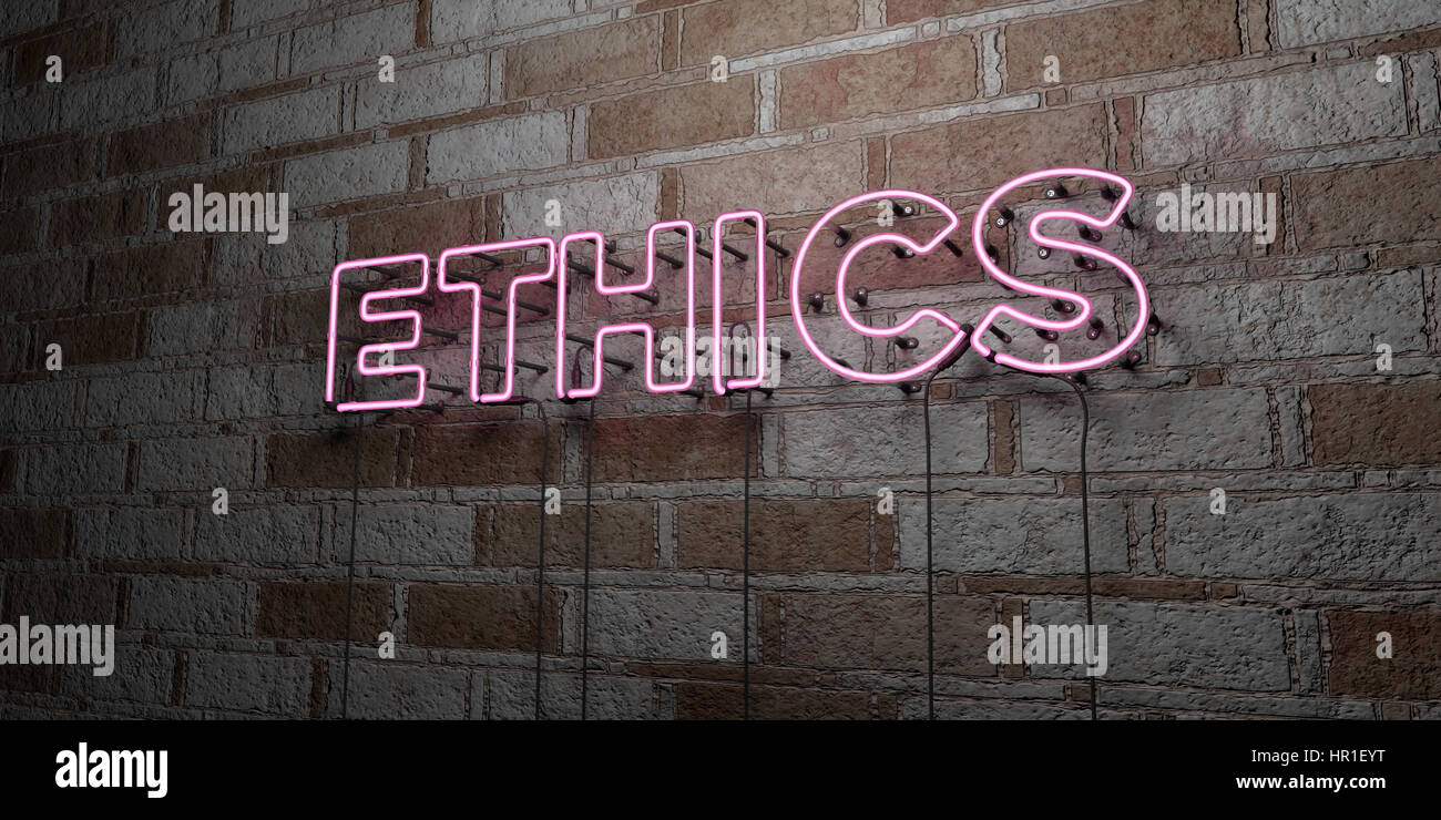 ETHICS - Glowing Neon Sign on stonework wall - 3D rendered royalty free stock illustration.  Can be used for online - Stock Image