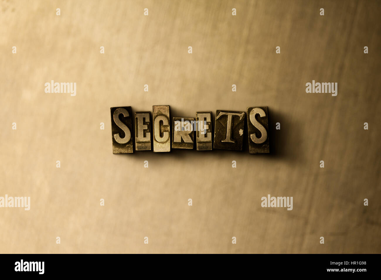 SECRETS - close-up of grungy vintage typeset word on metal backdrop. Royalty free stock - 3D rendered stock image. - Stock Image