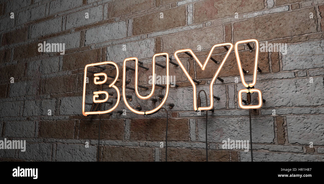 BUY! - Glowing Neon Sign on stonework wall - 3D rendered