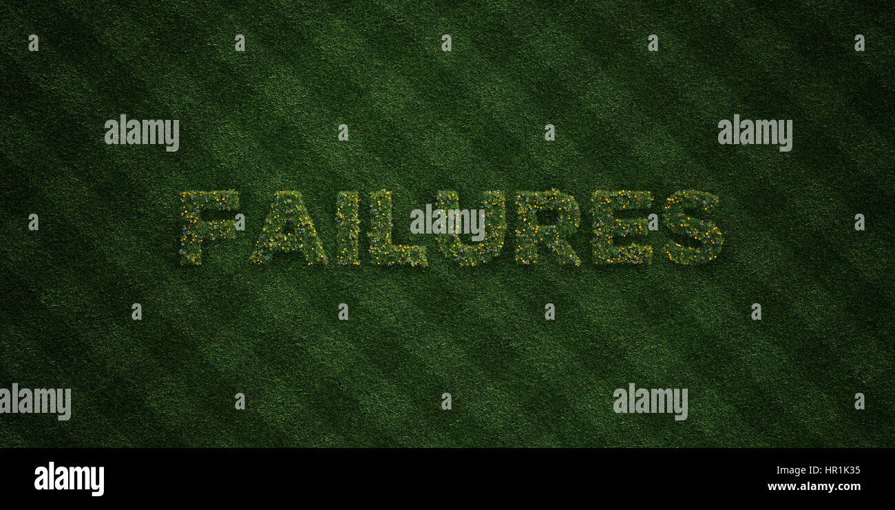 FAILURES - fresh Grass letters with flowers and dandelions - 3D rendered royalty free stock image. Can be used for - Stock Image