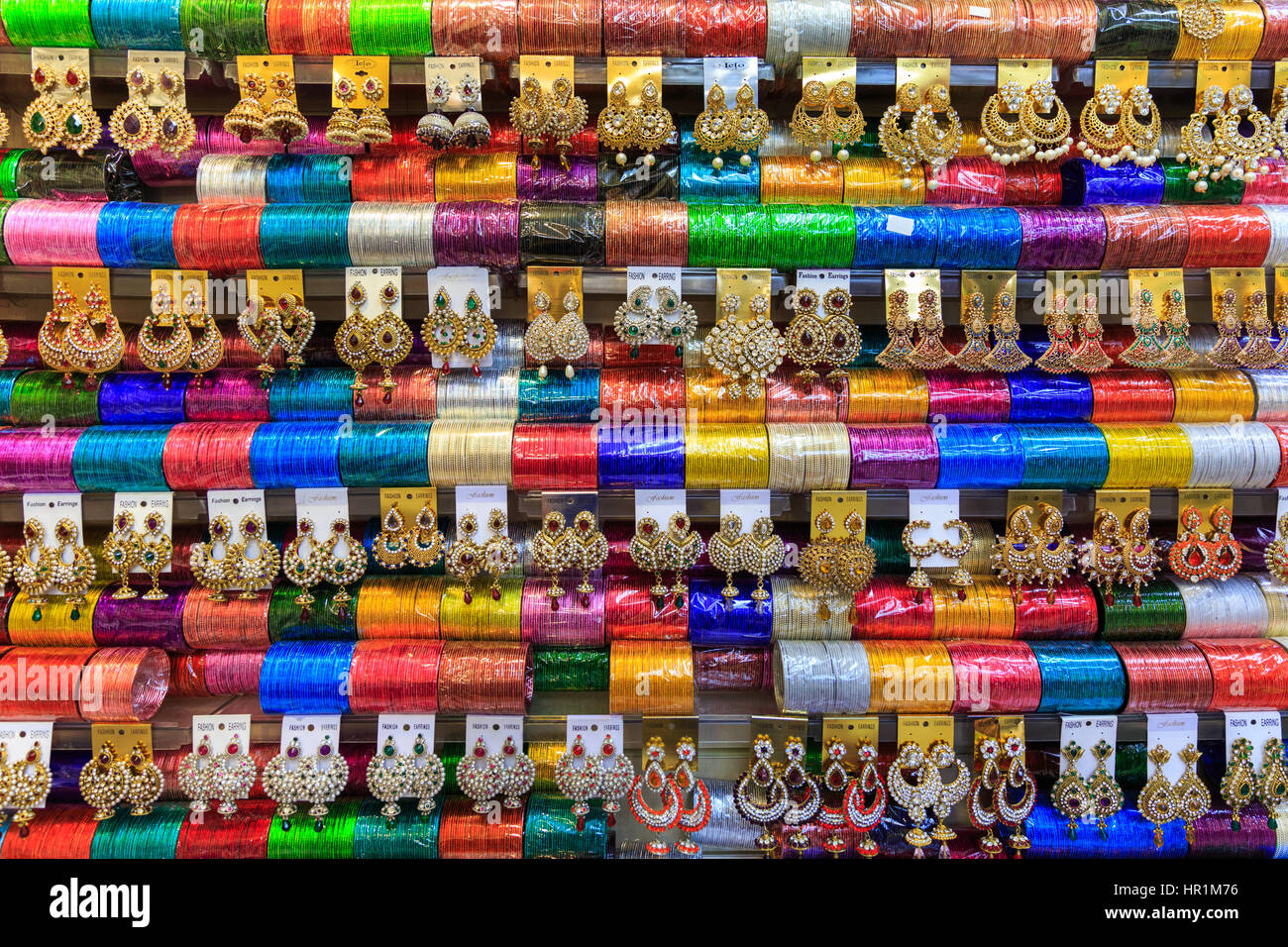 Colourful Indian bangles, earrings and jewellery on display Stock Photo