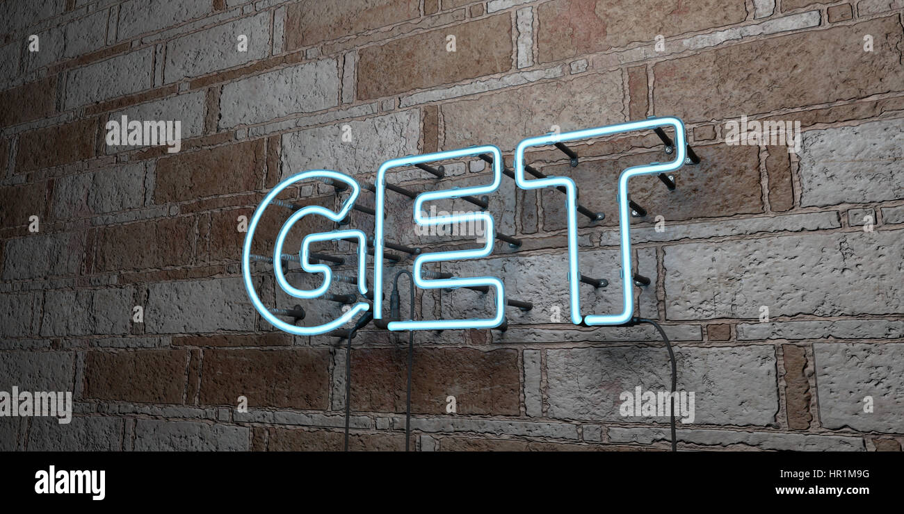 GET - Glowing Neon Sign on stonework wall - 3D rendered royalty free