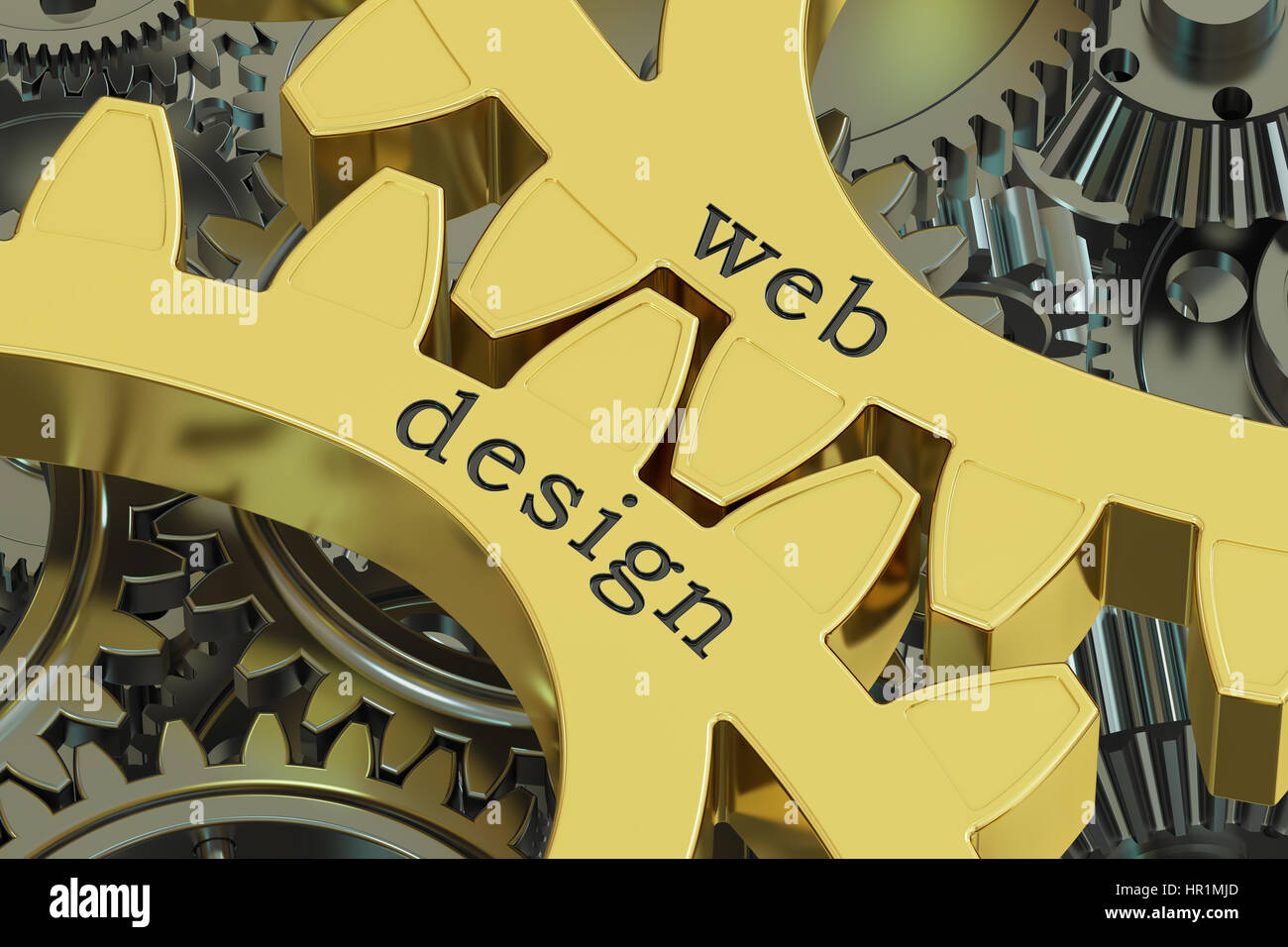 Web Design concept on the gearwheels, 3D rendering - Stock Image