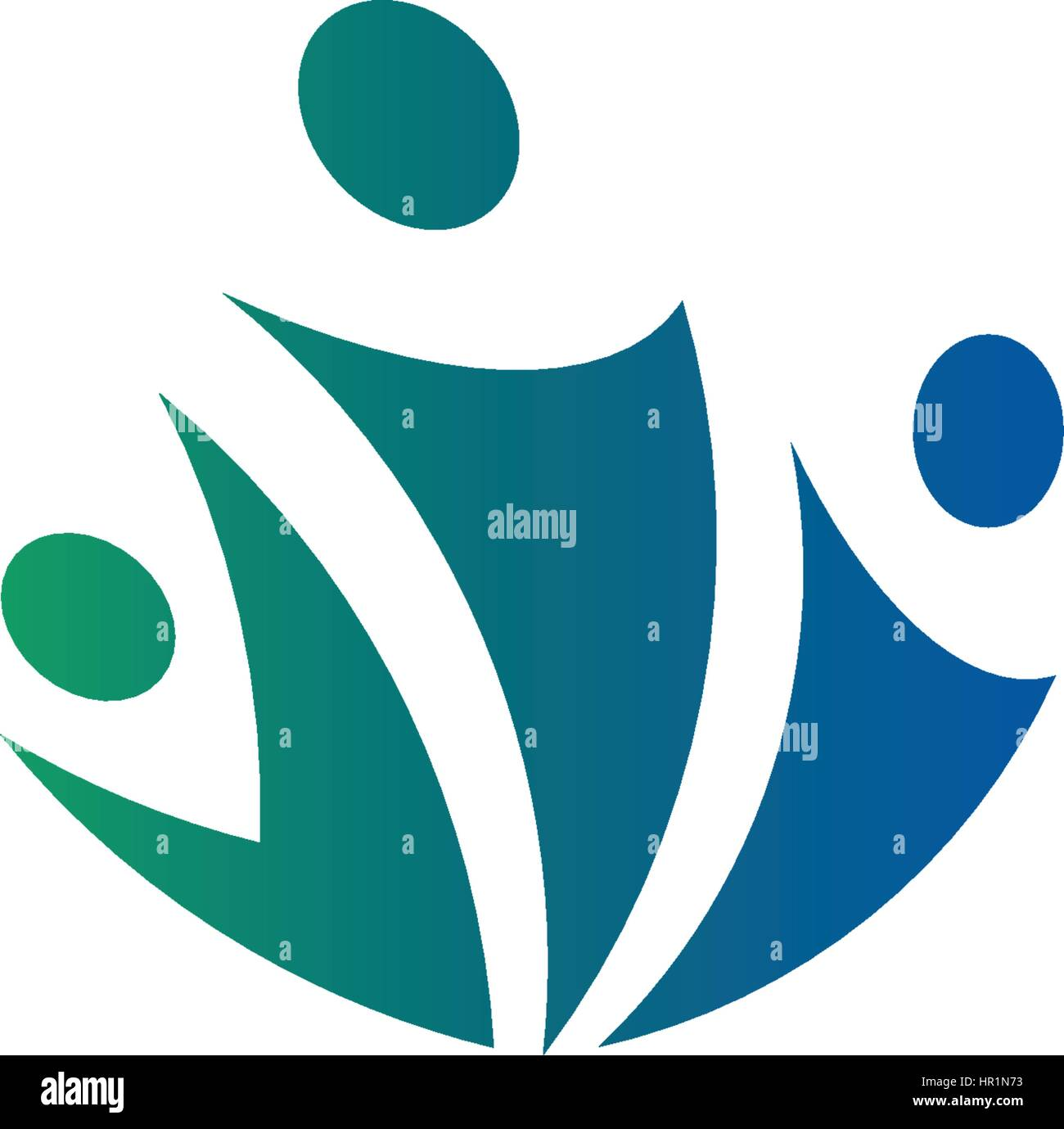 Isolated abstract blue and green color group of three people logo on white background vector illustration. - Stock Vector