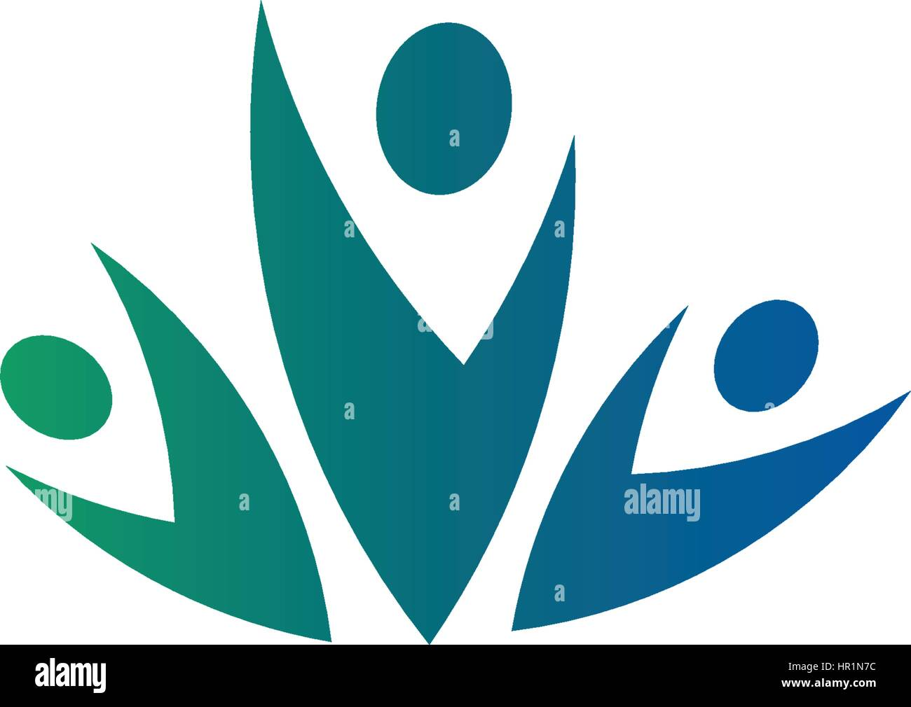 isolated abstract blue and green color group of three people logo on