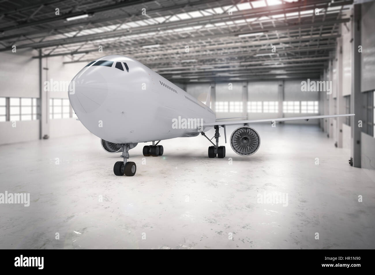 3d rendering airplane in hangar Stock Photo