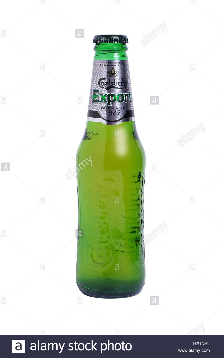 Leeds, United Kingdom - April 14th, 2015: Bottle of Carlsberg Export lager. A premium strength lager brewed to an - Stock Image
