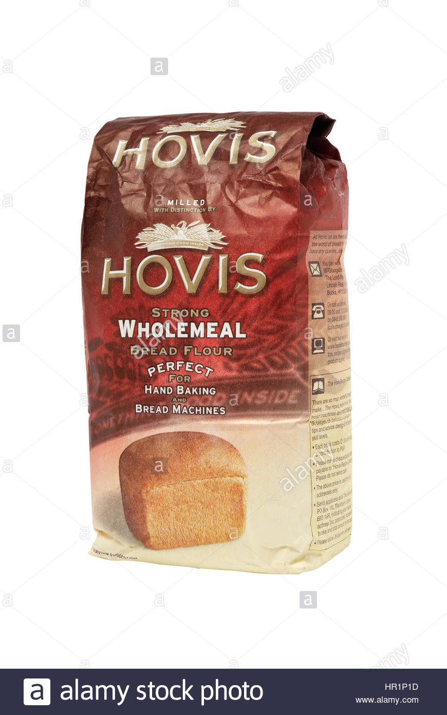 Bag of Hovis wholemeal bread flour. Studio shot, isolated on white. Hovis is a UK brand which manufactures brea - Stock Image