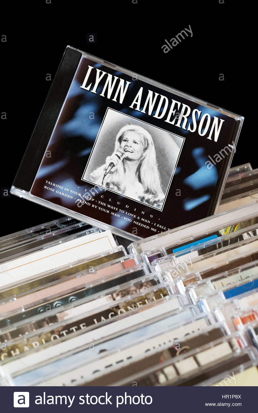 Lynn Anderson CD pulled out from among rows of other CD's, Dorset, England - Stock Image