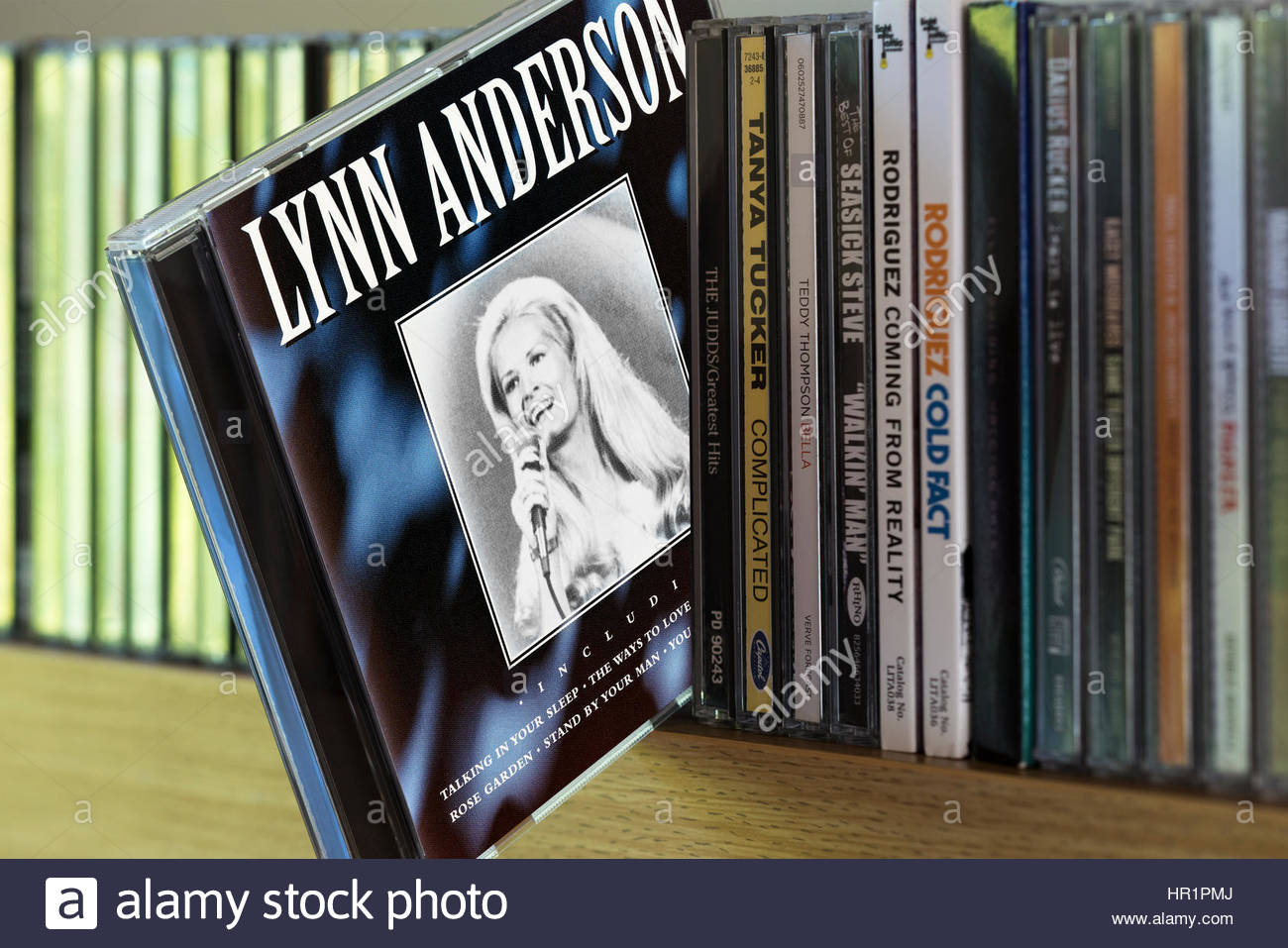Lynn Anderson CD pulled out from among other CD's on a shelf , England - Stock Image