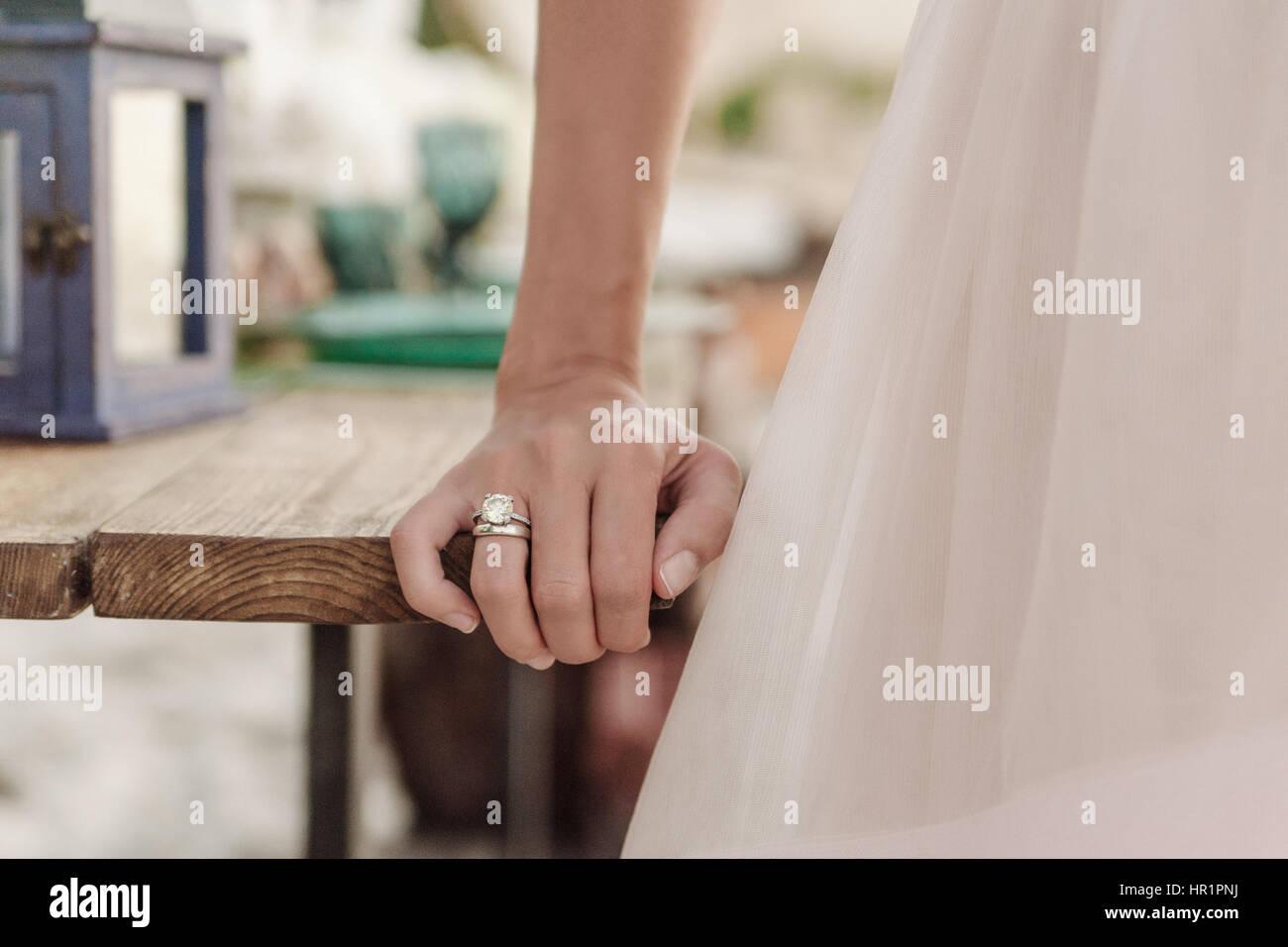 Beautiful wedding ring on bride hand - Stock Image