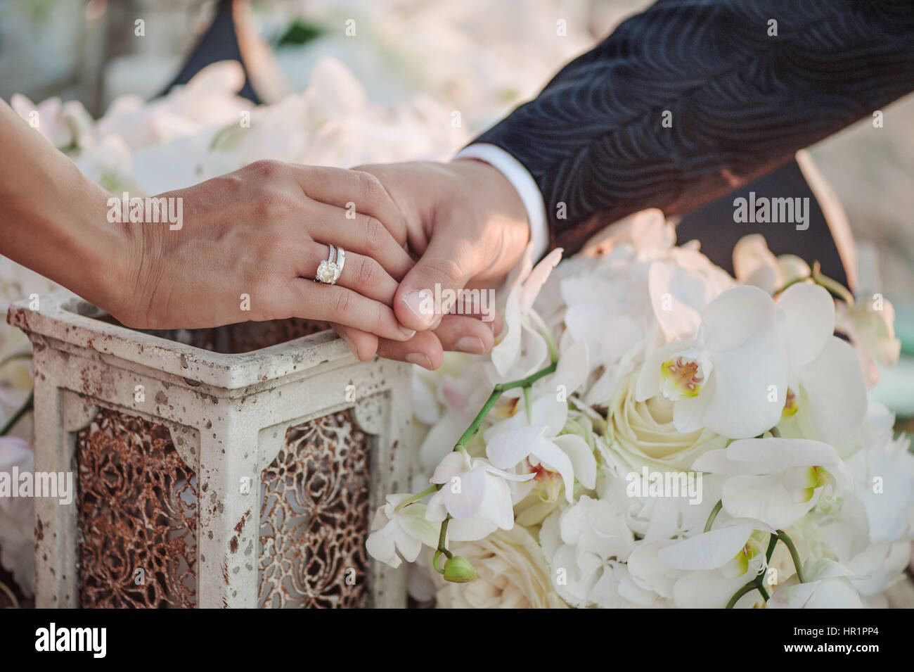 Newlyweds staying arm in arm on vintage background - Stock Image