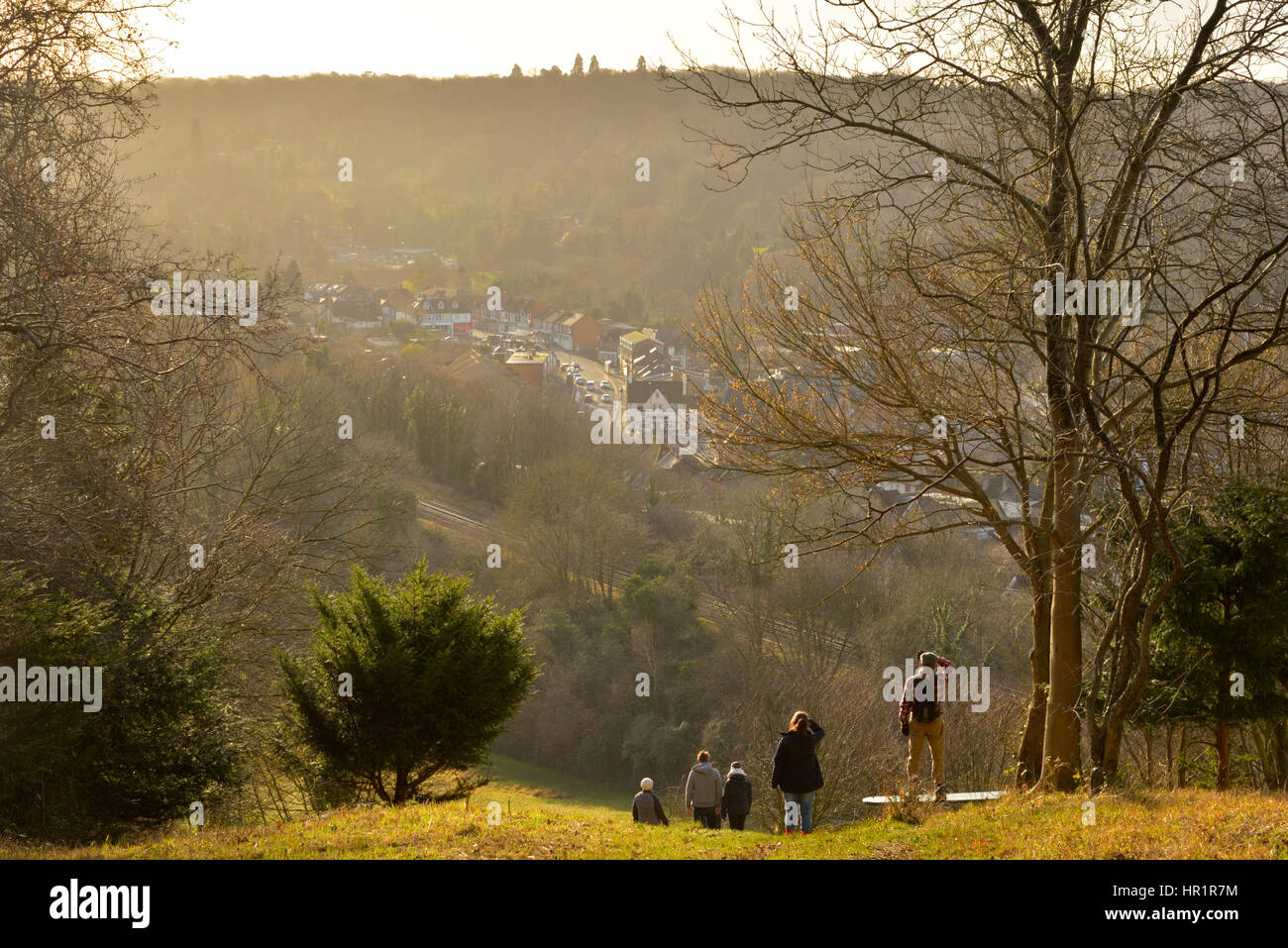 Whyteleafe View from Warlingham Hill, Walkers Looking into the Sun - Stock Image