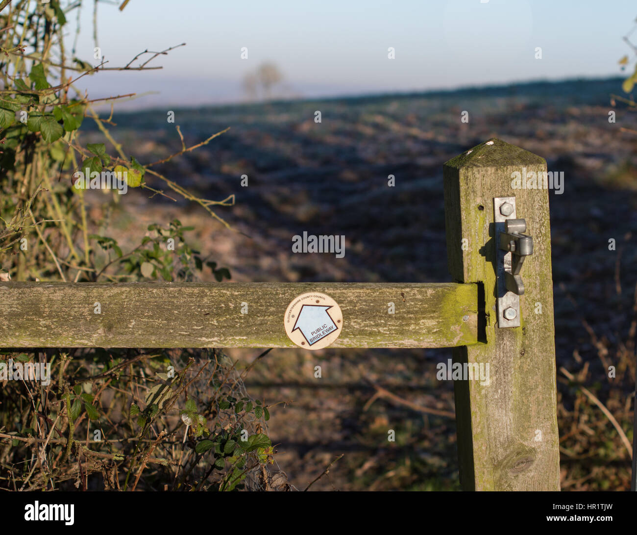 Public Bridleway sign showing the magnificent walks in the Cotswolds from Mickleton in an area of outstanding natural - Stock Image