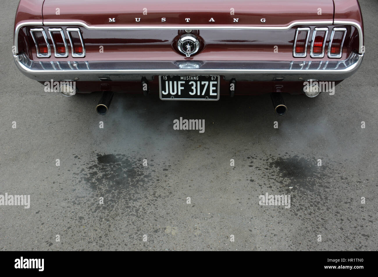 1967 classic burgundy Ford Mustang Coupe with water in the exhaust fumes as the V8 engine warms up Stock Photo
