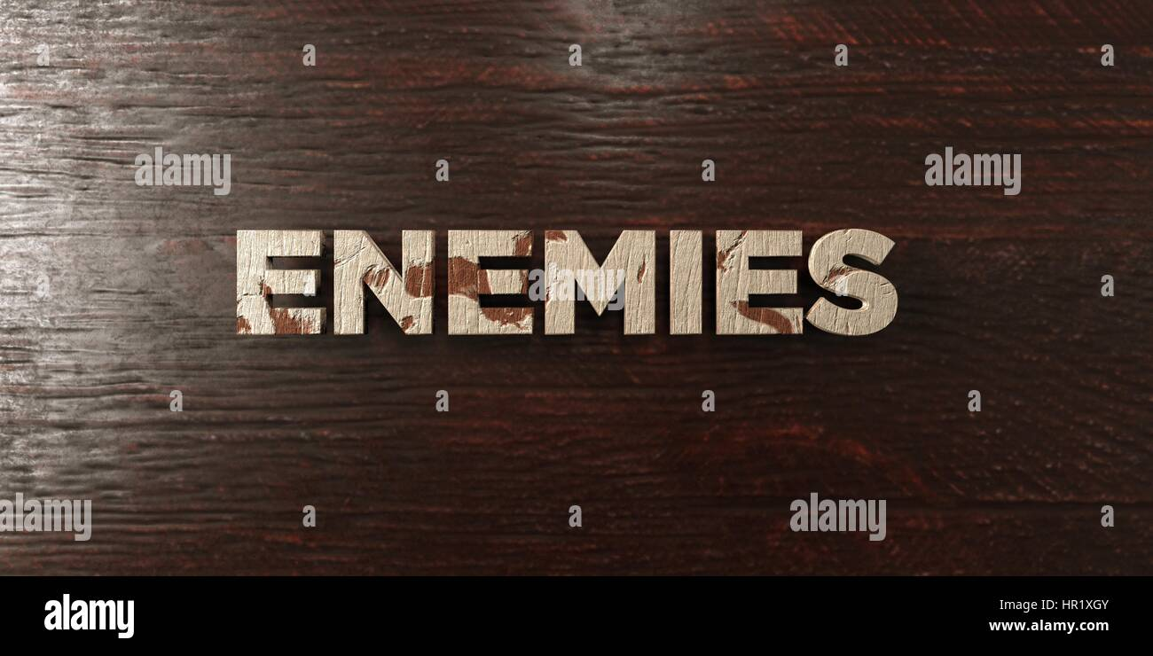 Enemies - grungy wooden headline on Maple  - 3D rendered royalty free stock image. This image can be used for an - Stock Image