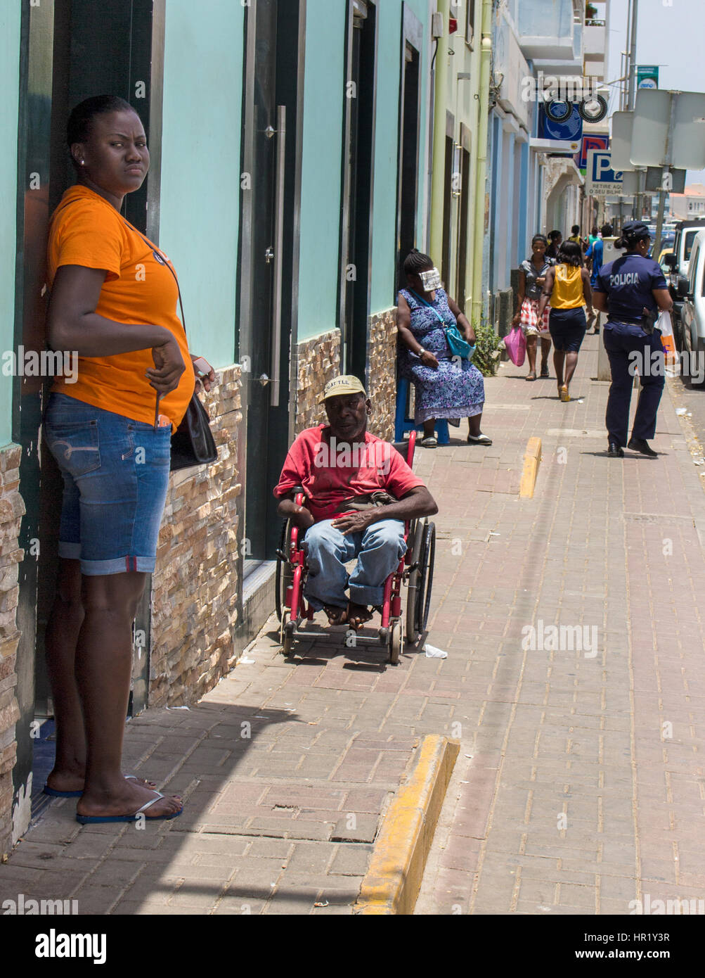 People begging for money on the street in Cape Verde - Stock Image