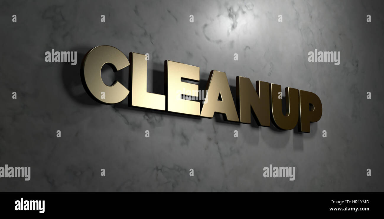 Cleanup - Gold sign mounted on glossy marble wall - 3D