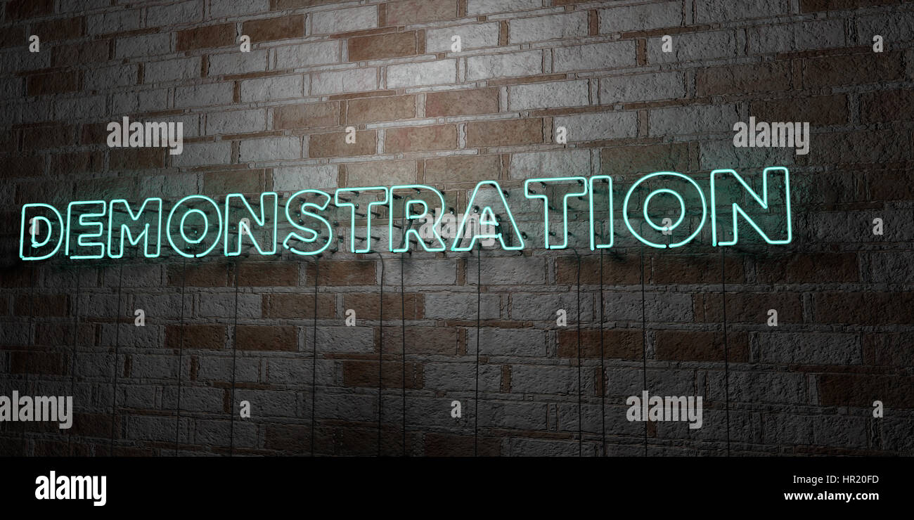 DEMONSTRATION - Glowing Neon Sign on stonework wall - 3D rendered royalty free stock illustration.  Can be used Stock Photo