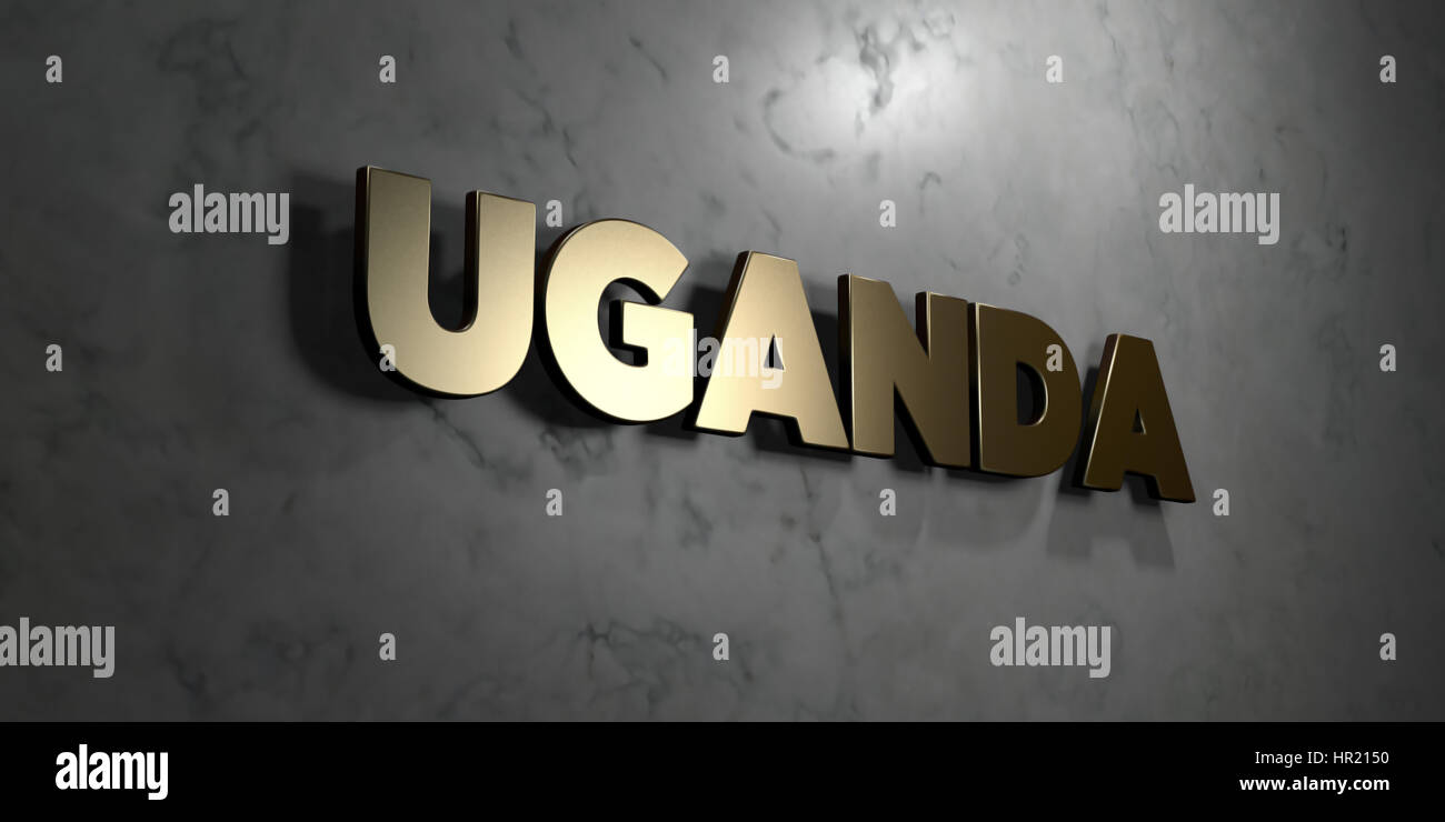 Uganda - Gold sign mounted on glossy marble wall  - 3D rendered royalty free stock illustration. This image can - Stock Image