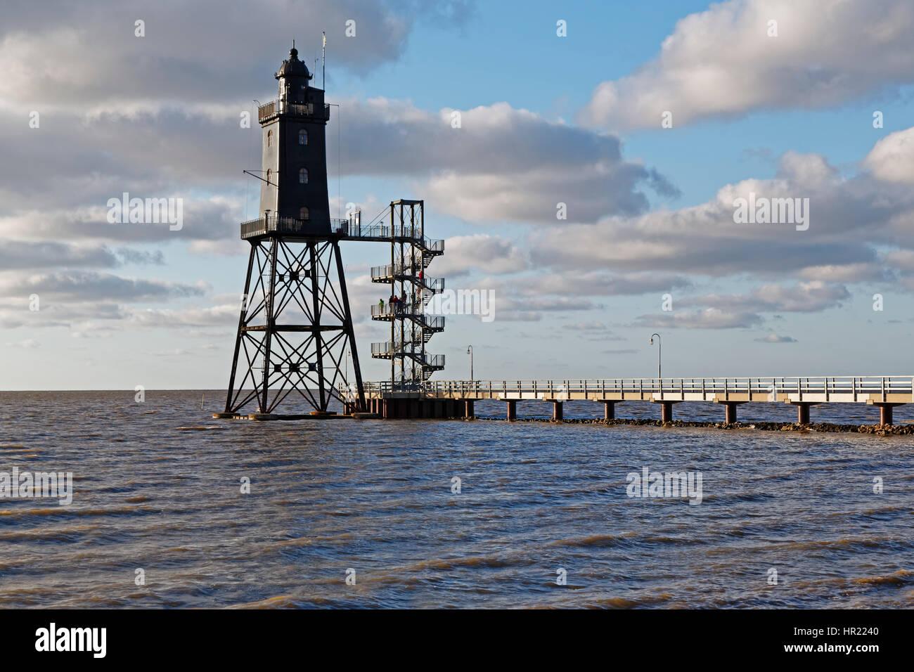 Lighthouse Obereversand, fishing port of Dorum-Neufe - Stock Image
