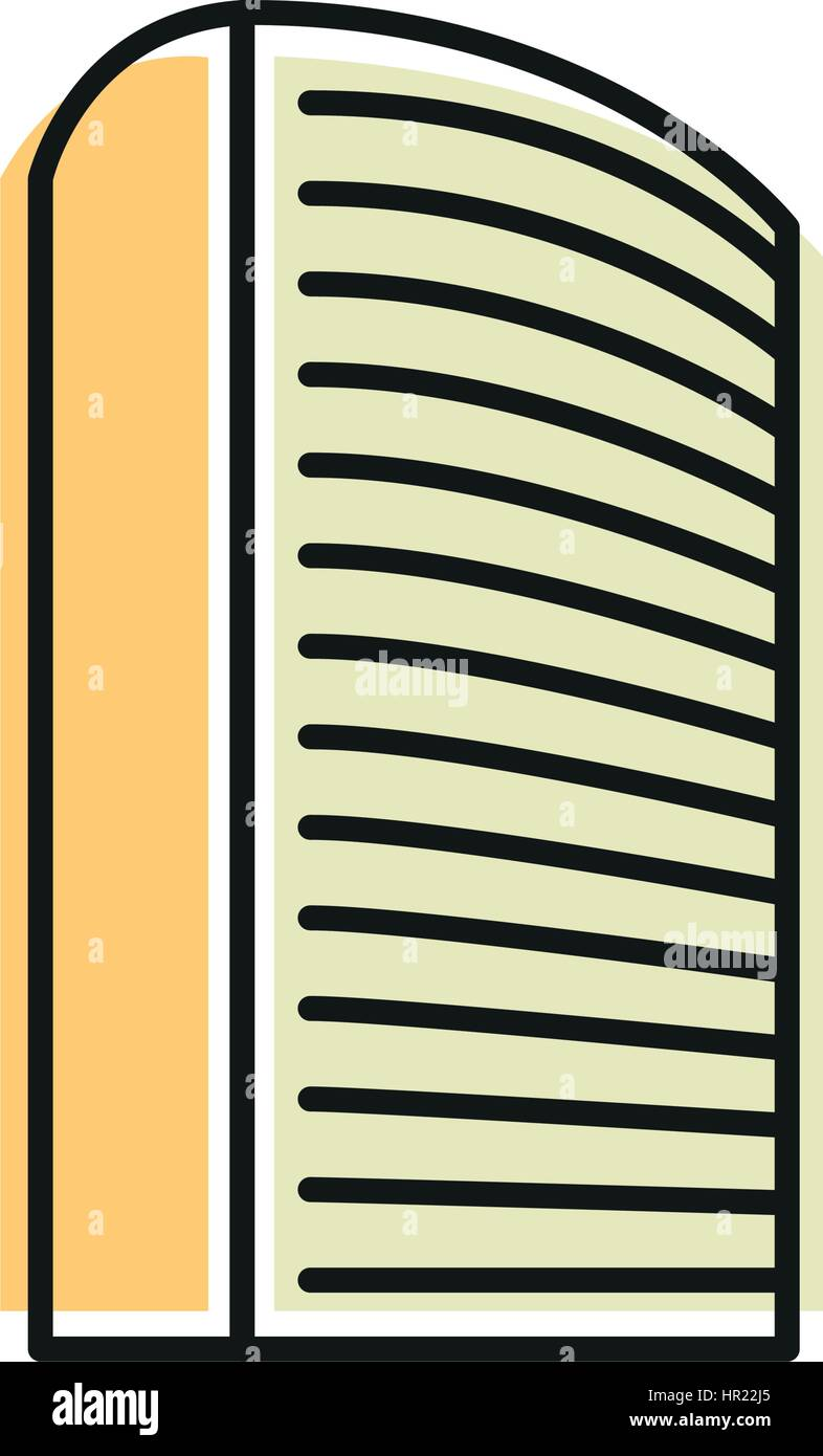 Isolated yellow color skyscraper in lineart style icon, element of urban architectural building vector illustration. - Stock Image