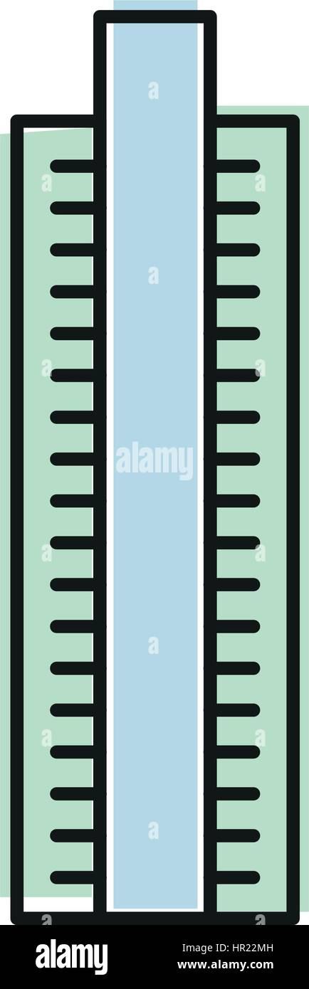 Isolated blue color skyscraper in lineart style icon, element of urban architectural building vector illustration. - Stock Image