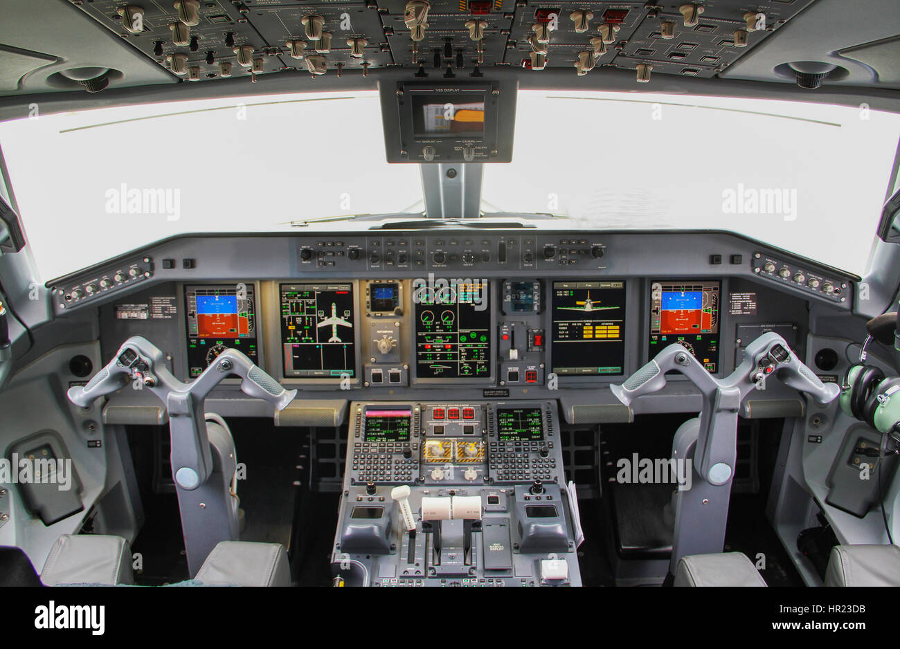 plane interior, cockpit view inside the airliner - Stock Image