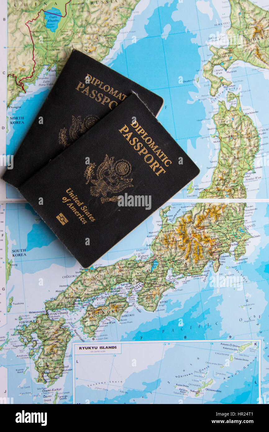 Map Of America And Japan.Diplomatic Passport Of The United States Of America On A Map Of