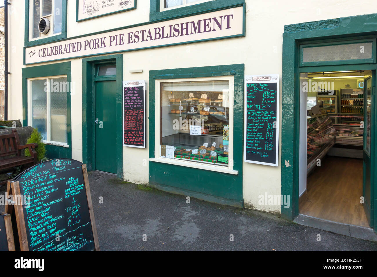 Stanforths, the Celebrated Pork Pie Establishment in Skipton North Yorkshire England, blackboards with prices 2017 - Stock Image