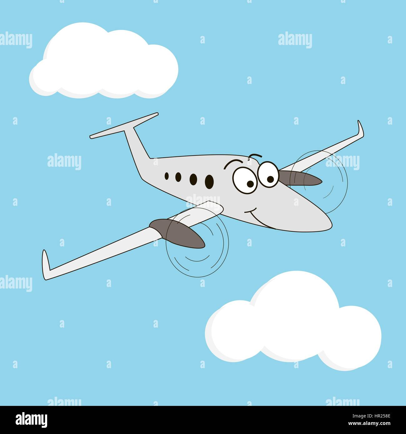 Cartoon style turboprop smiling airplane on a sky background. Happy two engine aircraft with big eyes. Sky, wings, - Stock Vector