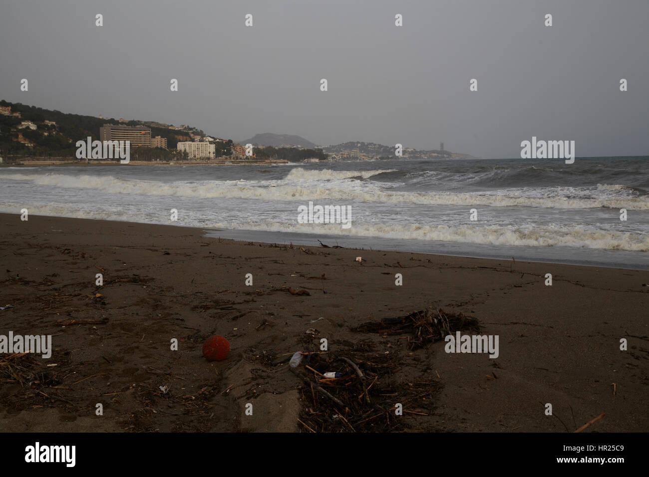Malaga, Spain  skyline at Playa de la Malagueta - Stock Image