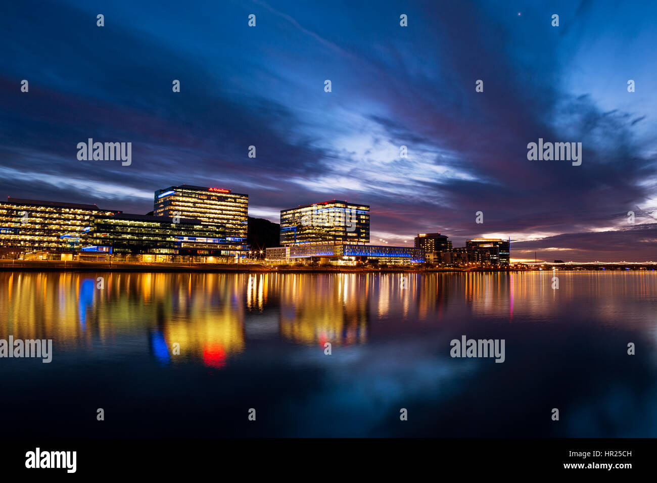 Tempe Town Lake and Downtown Tempe, Arizona city skyline at sunset - Stock Image
