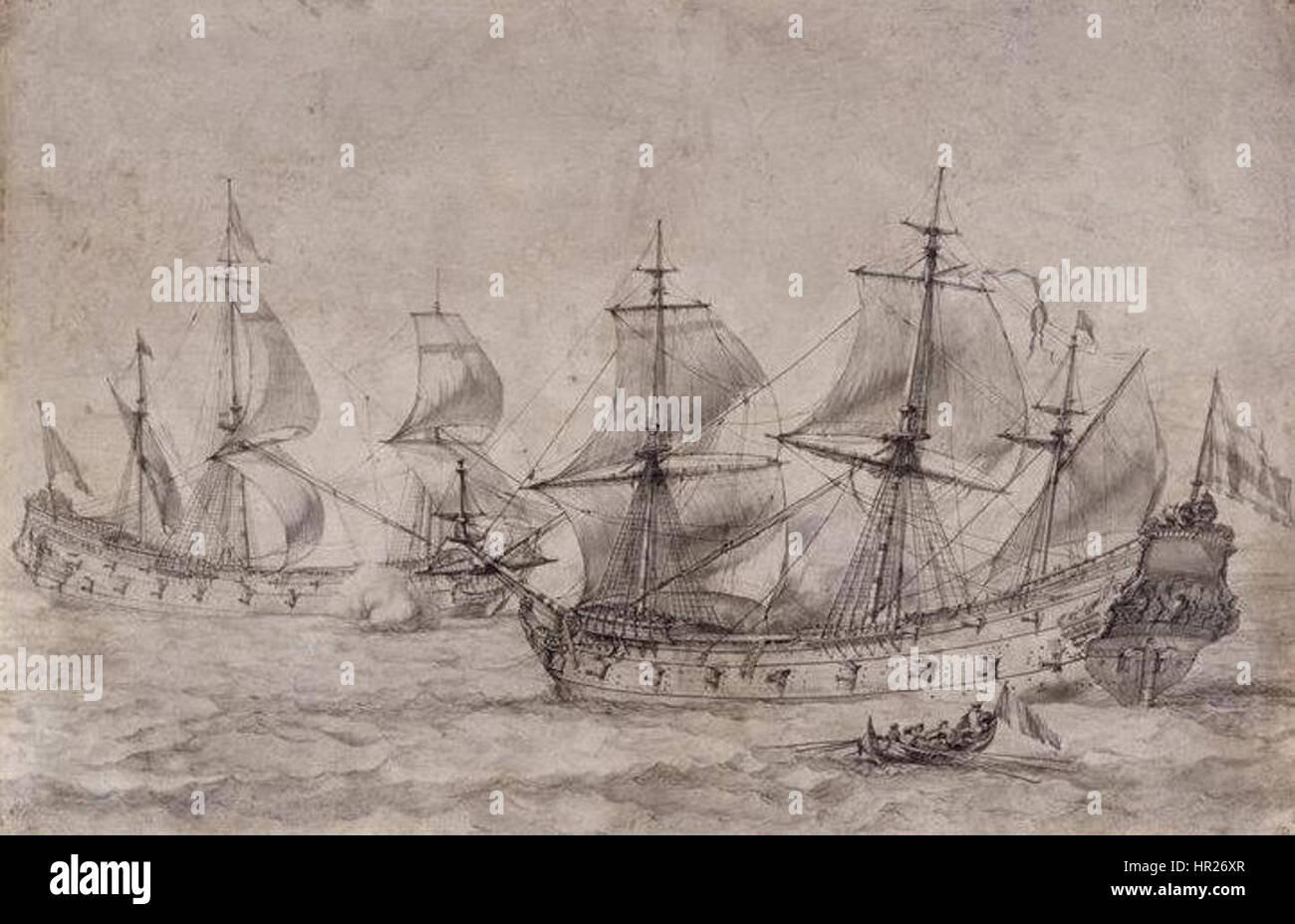 Pierre-Puget-deux-vaisseaux - Stock Image